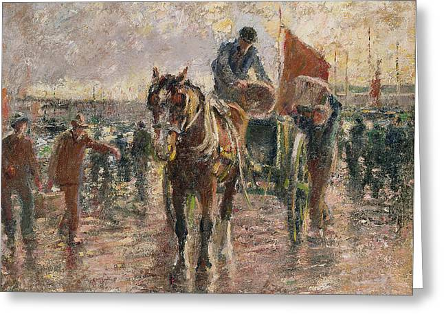 Fish Market Greeting Cards - Unloading the Catch Greeting Card by Harry Fidler