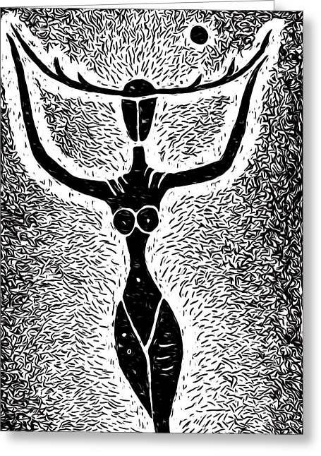 Linocut Greeting Cards - Unmasked Inner Goddess Greeting Card by e9Art
