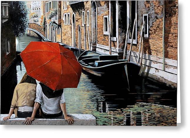 Dating Paintings Greeting Cards - Uno Sguardo Al Canale Greeting Card by Guido Borelli