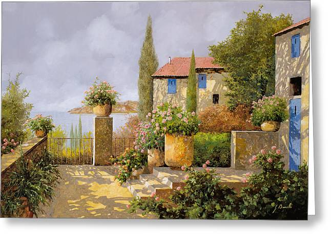 Terrace Greeting Cards - Uno Sguardo Sul Mare Greeting Card by Guido Borelli