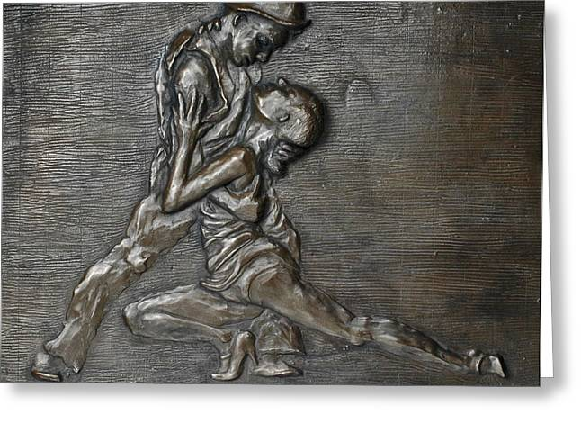 Couples Sculptures Greeting Cards - Uno...Dos Greeting Card by Eduardo Gomez