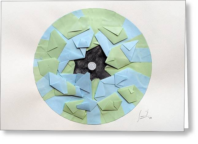 Surreal Geometric Mixed Media Greeting Cards - Unravel Greeting Card by Sumit Mehndiratta