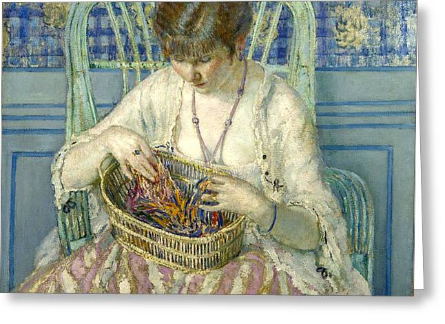 Lady In Green Greeting Cards - Unraveling Silk  Greeting Card by Carl Frieseke