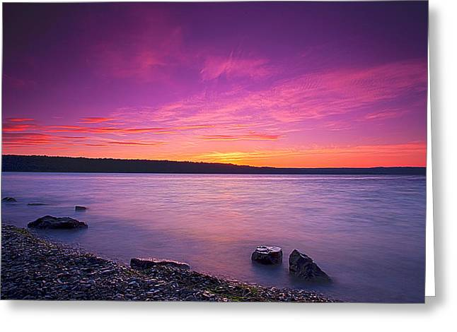 Pond In Park Greeting Cards - Sunrise In Cayuga Lake II Ithaca New York Greeting Card by Paul Ge