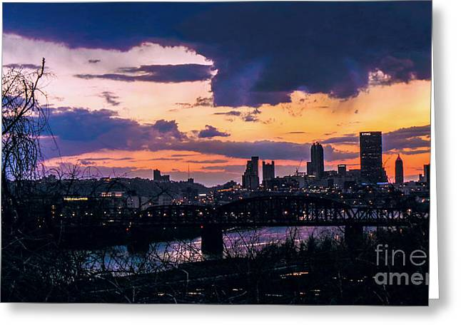 Sunset Posters Greeting Cards - Unsettled Greeting Card by Charlie Cliques