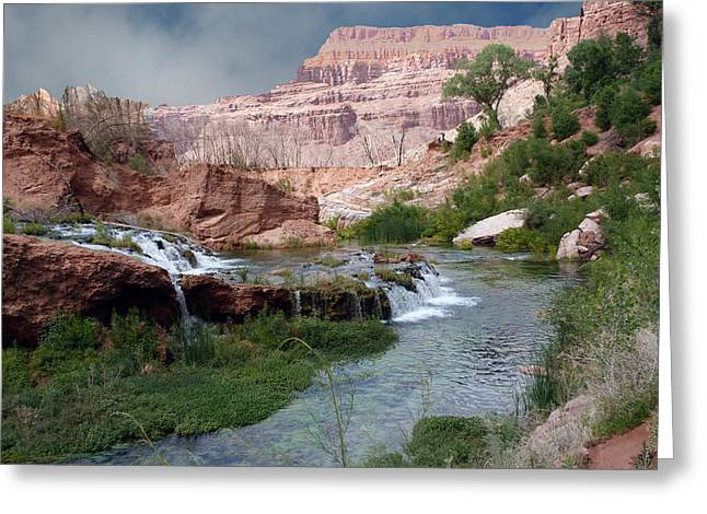 Sofa Size Greeting Cards - Unspoiled Waterfall Greeting Card by Alan Socolik