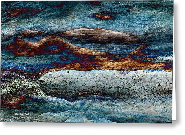 Abstract Seascape Mixed Media Greeting Cards - Untamed Sea 2 Greeting Card by Carol Cavalaris