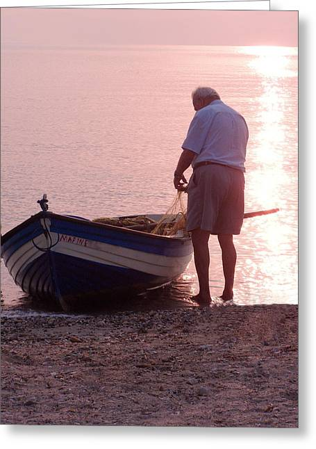 Shoreline Old Men Greeting Cards - Untangling the Nets Greeting Card by Tamyra Crossley