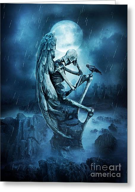 Night Angel Greeting Cards - Until The End Of Time Greeting Card by Jessica Allain