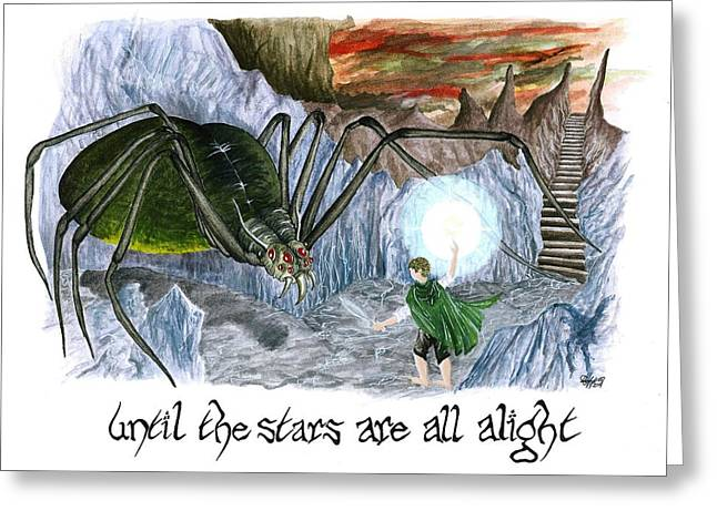 Jrr Tolkien Greeting Cards - Until The Stars Are All Alight Greeting Card by Bryana Johnson
