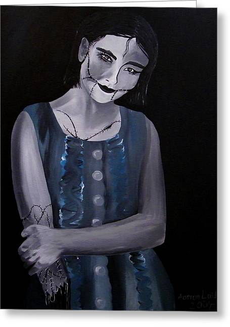 Ghastly Paintings Greeting Cards - Untitled  04 zombie doll painting Greeting Card by Aarron  Laidig