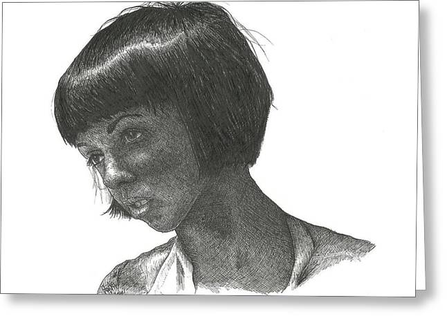 Pensive Drawings Greeting Cards - Untitled #1 Greeting Card by Cody Smith