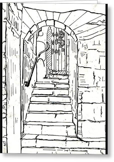 Staircase Drawings Greeting Cards - Untitled 2 Greeting Card by Xueling Zou