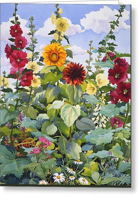 Hollyhocks And Sunflowers Greeting Card by Christopher Ryland