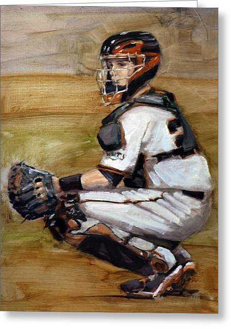 Sf Giants Greeting Cards - Untitled Greeting Card by Darren Kerr