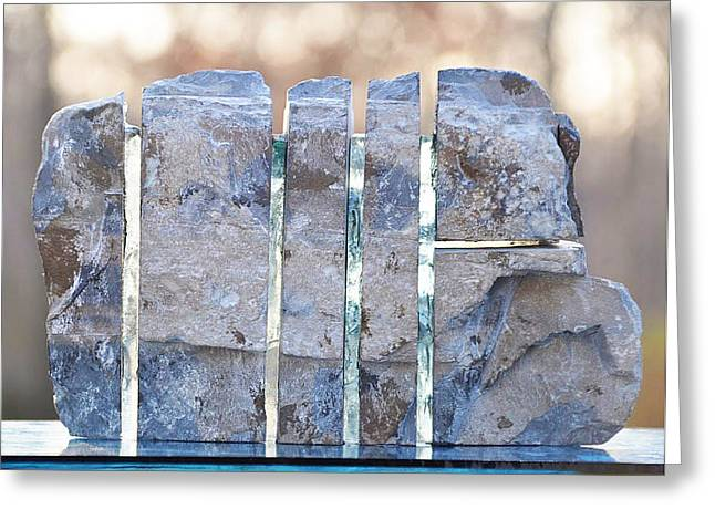 Rock Sculptures Greeting Cards - Untitled Glass And Rock Sculpture Greeting Card by Tommy  Urbans