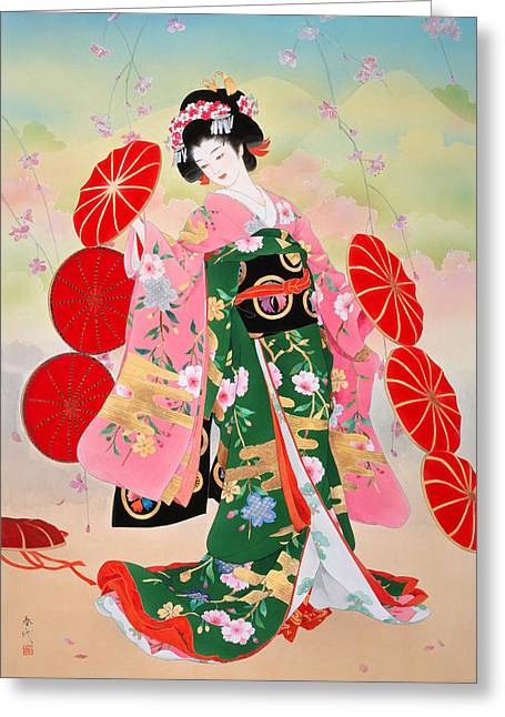 Floral Portrait Greeting Cards - Untitled Greeting Card by Haruyo Morita