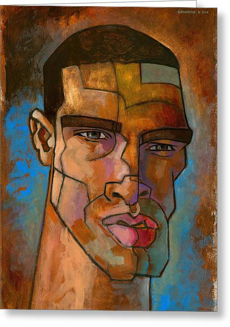 Angular Greeting Cards - Untitled Male Head August 2012 Greeting Card by Douglas Simonson