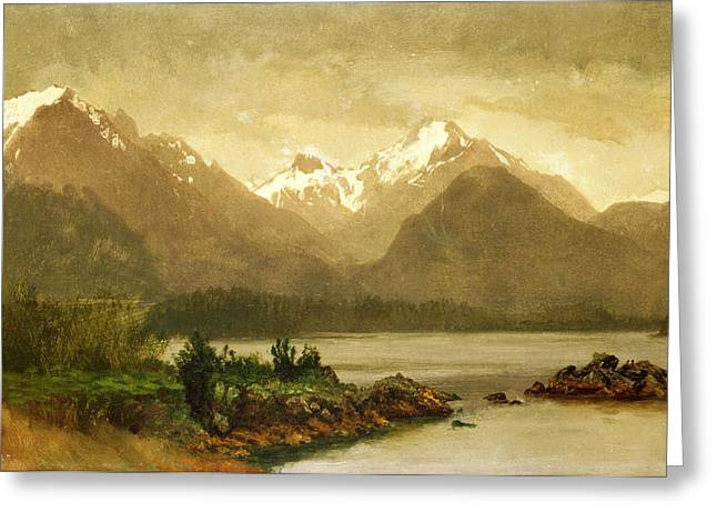 Mountains And Lake Greeting Cards - Untitled mountains and lake Greeting Card by Albert Bierstadt