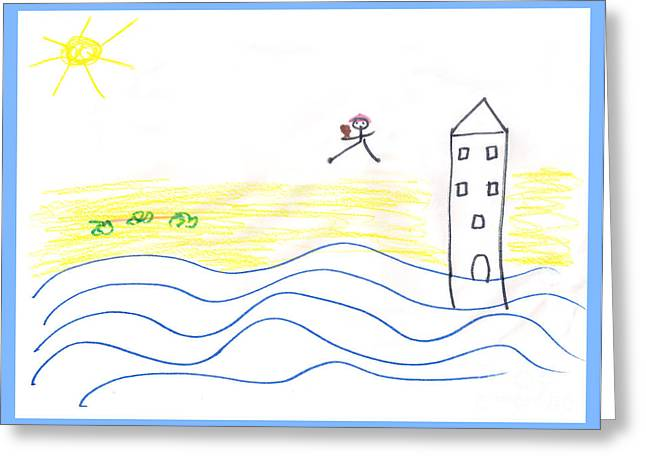 Beaches Drawings Greeting Cards - Untitled  Greeting Card by Pixel  Chimp
