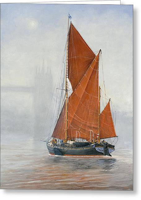 Tall Ships Greeting Cards - Untitled Sailing Barge 1 Greeting Card by Eric Bellis
