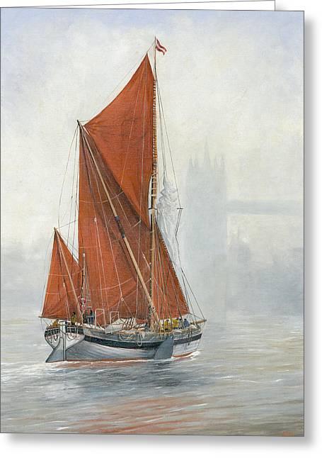 Eric Bellis Greeting Cards - Untitled Sailing Barge 2 Greeting Card by Eric Bellis