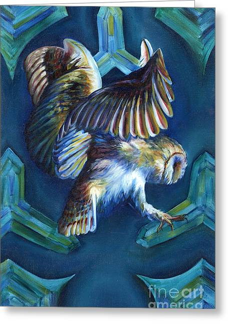 Psychedelic Owl Greeting Cards - Untitled Greeting Card by Shelby Gilbert