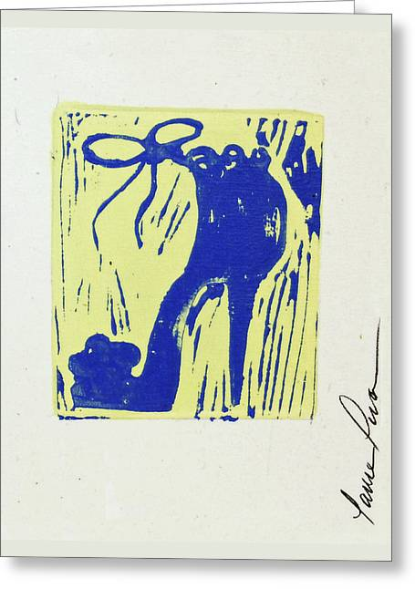 Lino Paintings Greeting Cards - Untitled Shoe Print in Blue and Green Greeting Card by Lauren Luna