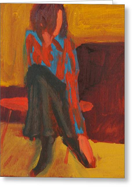 Pensive Greeting Cards - Untitled, Shoe Study, 2004 Oil On Wood Greeting Card by Daniel Clarke
