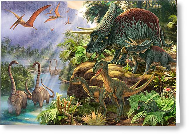 Dinosaurs Greeting Cards - Dinosaur Valley Greeting Card by Steve Read