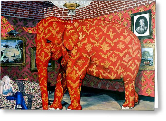 Elephant In The Room Greeting Cards - Untitled Greeting Card by Tom Roderick