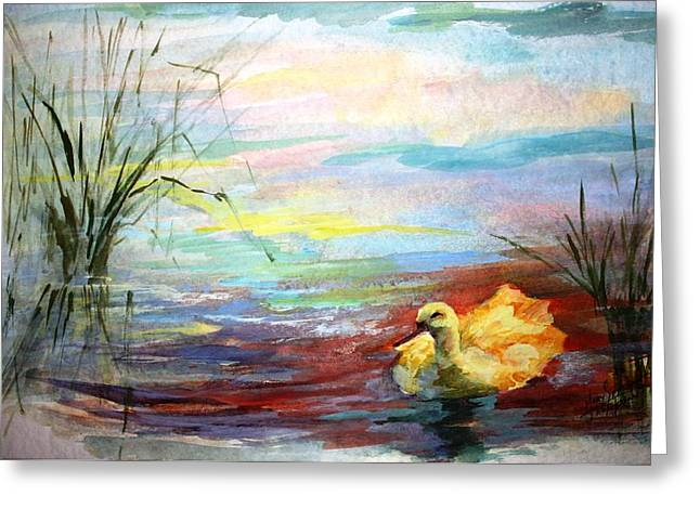 Babylon Paintings Greeting Cards - Untitled watercolor       Greeting Card by Mary Spyridon Thompson