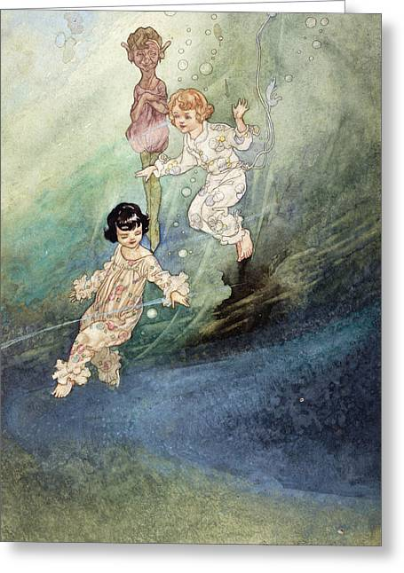 Fairies Greeting Cards - Untitled Watercolour, Children Underwater With An Elf Greeting Card by Charles Robinson