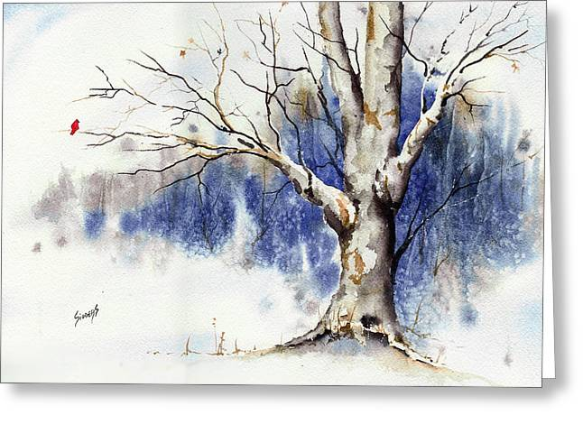 Winter Trees Greeting Cards - Untitled Winter Tree Greeting Card by Sam Sidders