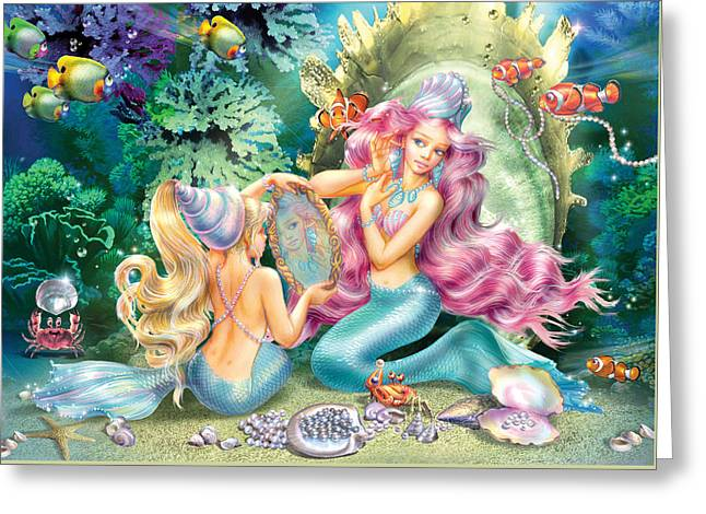 Magical Greeting Cards - Mermaids and Pearls Greeting Card by Zorina Baldescu