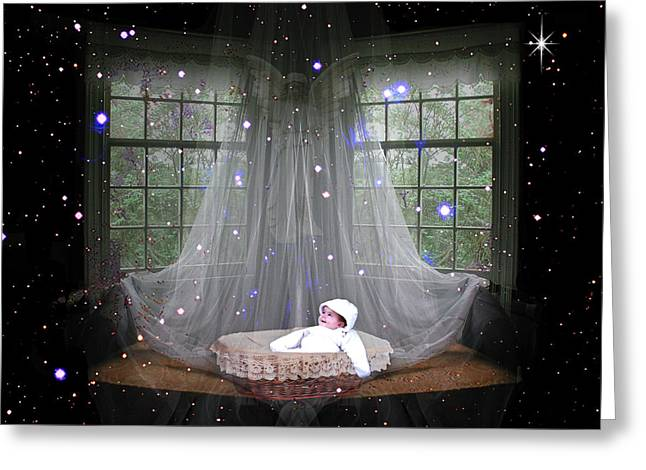 Unto Us A Child Is Born Greeting Card by Paula Ayers