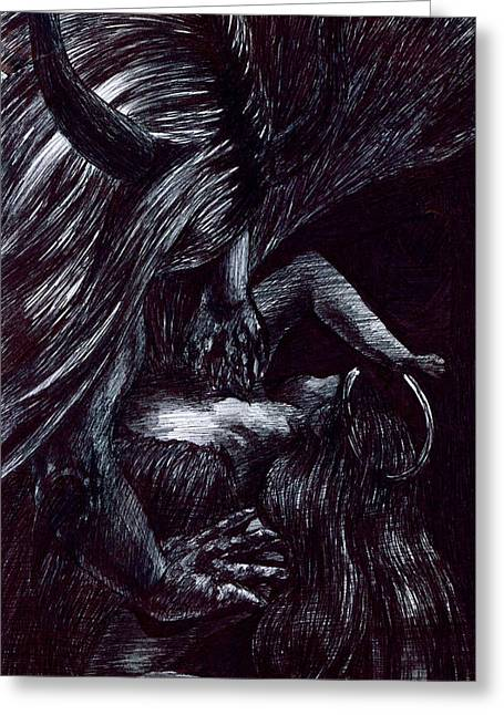 Psychology Drawings Greeting Cards - Unwilling Greeting Card by Kd Neeley