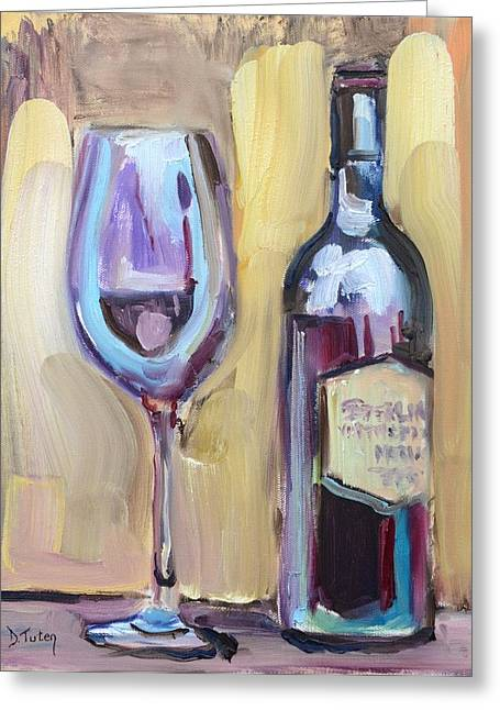 Table Wine Greeting Cards - Unwind Greeting Card by Donna Tuten