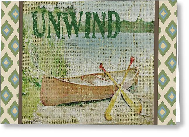 Canoe Paintings Greeting Cards - Unwind-Ikat Greeting Card by Jean Plout