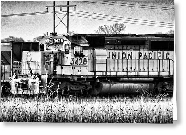 Division Greeting Cards - UP 3428 RCL Locomotive in Black-and-White Greeting Card by Bill Kesler