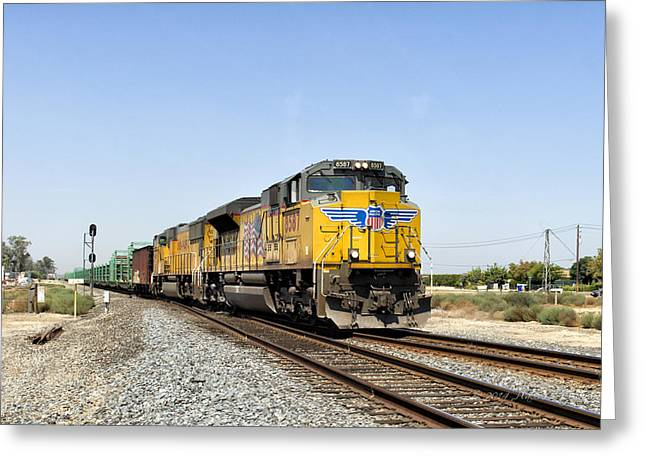 Union Pacific Greeting Cards - UP 8587 Southbound From Traver Greeting Card by Jim Thompson