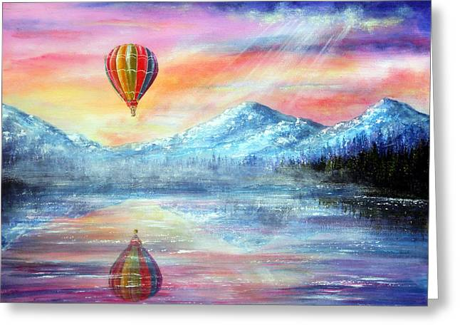 Kinkade Greeting Cards - Up and Away Greeting Card by Ann Marie Bone