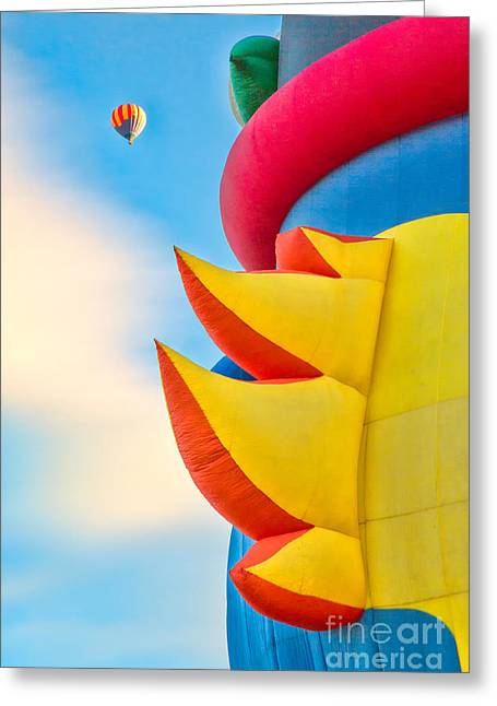 Hot Air Balloons Greeting Cards - Up And Away Greeting Card by Mimi Ditchie