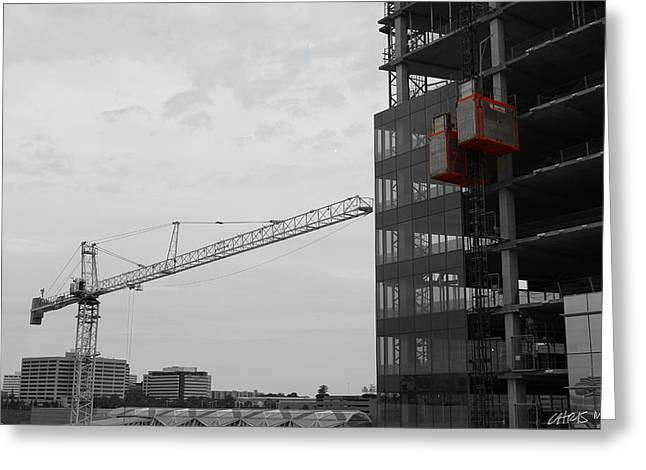 Tower Crane Greeting Cards - Up and Down Greeting Card by Chris Martin