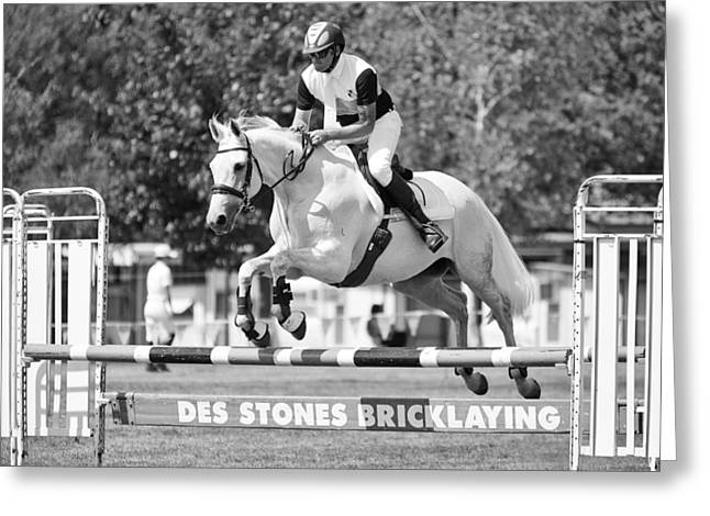 Show Jumping Greeting Cards - Up and Over Greeting Card by Mark Lucey