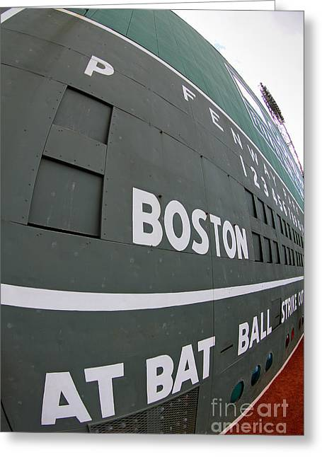 Fenway Park Greeting Cards - Up Close and Personal to the Green Monster Greeting Card by Bryan Maransky