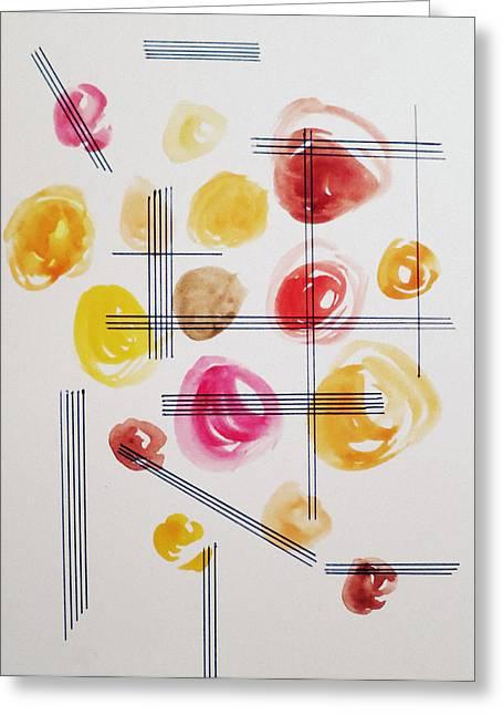Januszkiewicz Mixed Media Greeting Cards - Up Down and Around - Emotions Greeting Card by Patricia Januszkiewicz