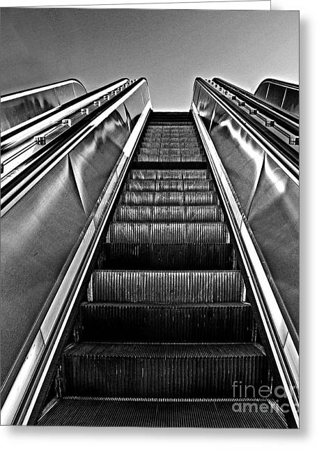 Industrial Background Greeting Cards - Up Escalator Greeting Card by Tom Gari Gallery-Three-Photography