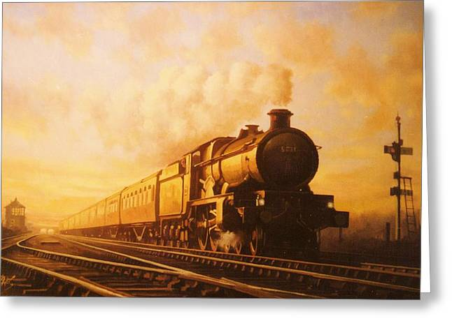 Trains Paintings Greeting Cards - Up express to Paddington Greeting Card by Mike  Jeffries