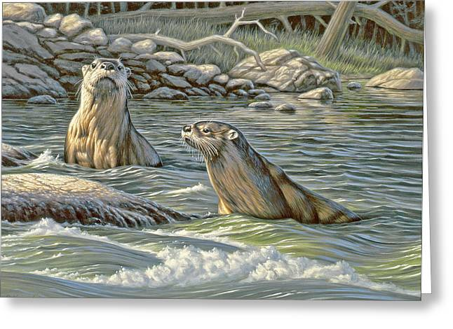 Wildlife Greeting Cards - Up for Air - river otters Greeting Card by Paul Krapf